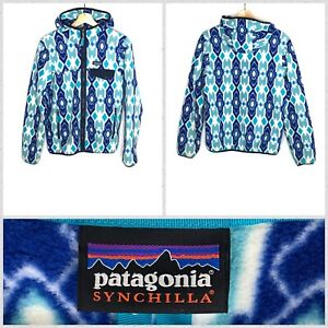 Patagonia-Women-039-s-Light-Blue-Full-Zip-Hooded-Soft-Synchilla-Fleece-Jacket-Medium