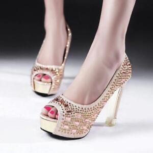Sexy-Women-Peep-Toe-Rhinestone-Pumps-Summer-Platform-High-Block-Heels-Shoes-Hot