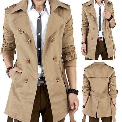 NEW Men Winter Slim Double Breasted Trench Coat Long Jacket Overcoat Outwear