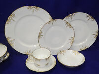 Haviland Limoges Chf1327 Schleiger Blank 361 White Gold 49 Pc Dinnerware Set