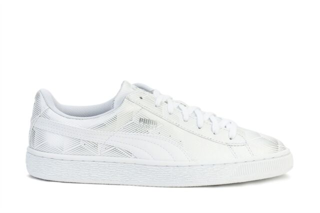 41bfd992fa10 Mens PUMA Basket Classic Metallic Shimmer White 36106902 Shoes ...