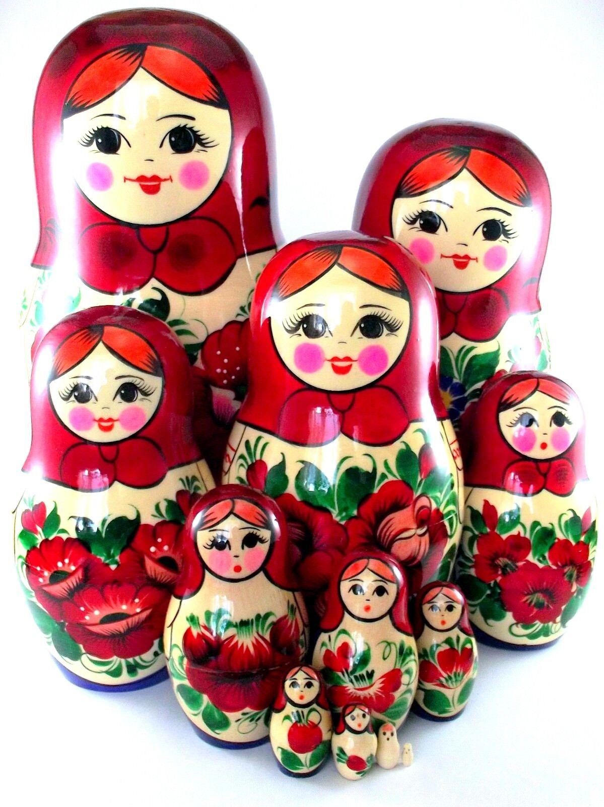 Matrioska Matriosche Matriosca Originale Russa Bambole Legno Nuovo 12 pezzi