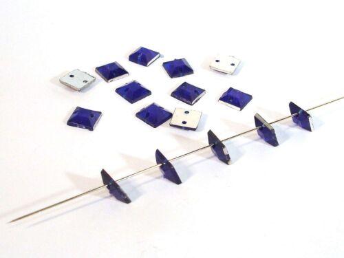 30 Stück #P87 Facettierte Aufnähsteine quadrat 6x6mm Königsblau