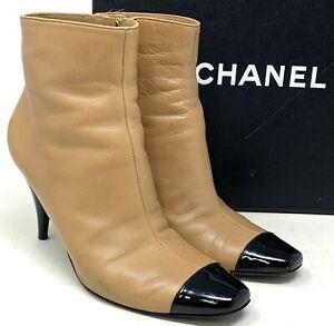 Authentic-CHANEL-Logo-Bicolor-Short-Boots-Heels-36-5-US-6-Beige-Leather-Patent