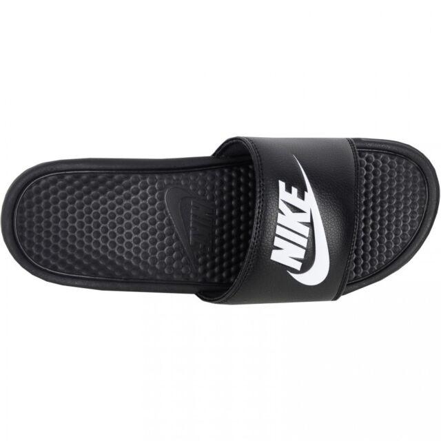 2661310bc5ad Nike Benassi Swoosh Slide Slides Sandals Synthetic Black White ...