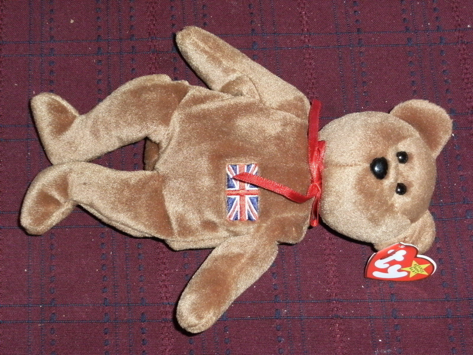 TY BEANIE BABY BABIES TEDDY BEAR BRITANNIA INDONESIA RETIRED 1997 FULL SIZE