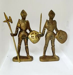 Vintage-Solid-Brass-Medieval-Knight-Figurine-x2