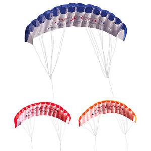 2-Leiner-Regenbogen-Trainer-Kite-Outdoor-Strand-Sports-Weich-Fallschirm-Kite-Neu