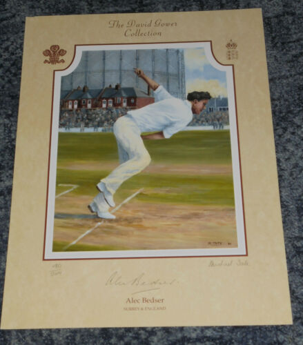 ENGLAND CRICKETER 15x12 LIMITED EDITION PRINT SIGNED. ALEC BEDSER