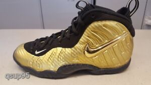 purchase cheap 0c625 5f63b Details about NIKE AIR FOAMPOSITE Pro Metallic Gold Black Posite GS PS TD  Kids Womens Sz 1C-7Y