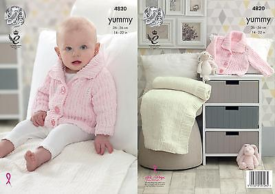 Baby Knitting Pattern Collared Jacket /& Comfort Blanket King Cole Yummy 4820