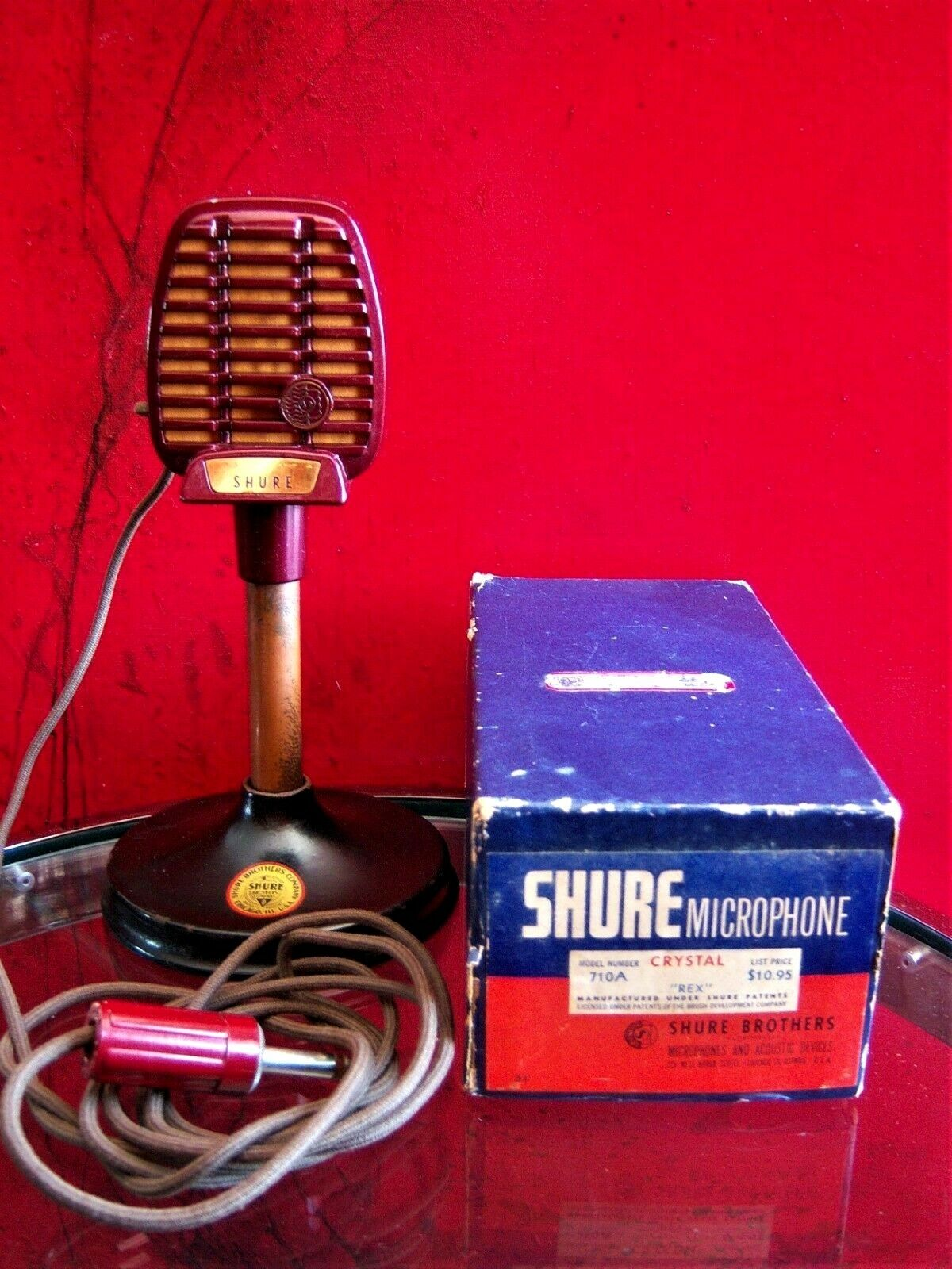Vintage 1940's RARE Shure 710A crystal microphone deco old used w extra's