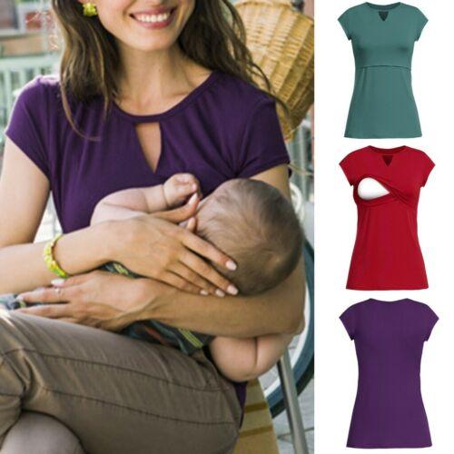 Women/'s S-5XL Maternity Nursing Wrap Tops Cap Double Layer Blouse T-Shirt Tee UK