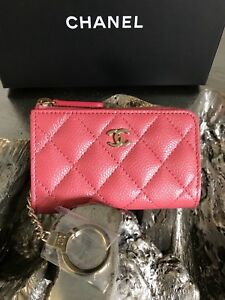 e519655e4db2 NWT CHANEL Pink Caviar O-key Holder Card Coin Zip O-Case 2018 18S ...