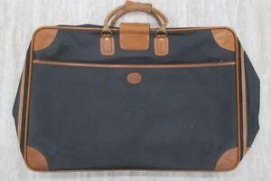 LONGCHAMP-Vintage-Large-Leather-Trim-Suitcase-Luggage-Black-Brown