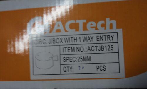 25MM 1 WAY SHALLOW JUNCTION BOX  PVC ELECTRICAL CONDUIT X 20