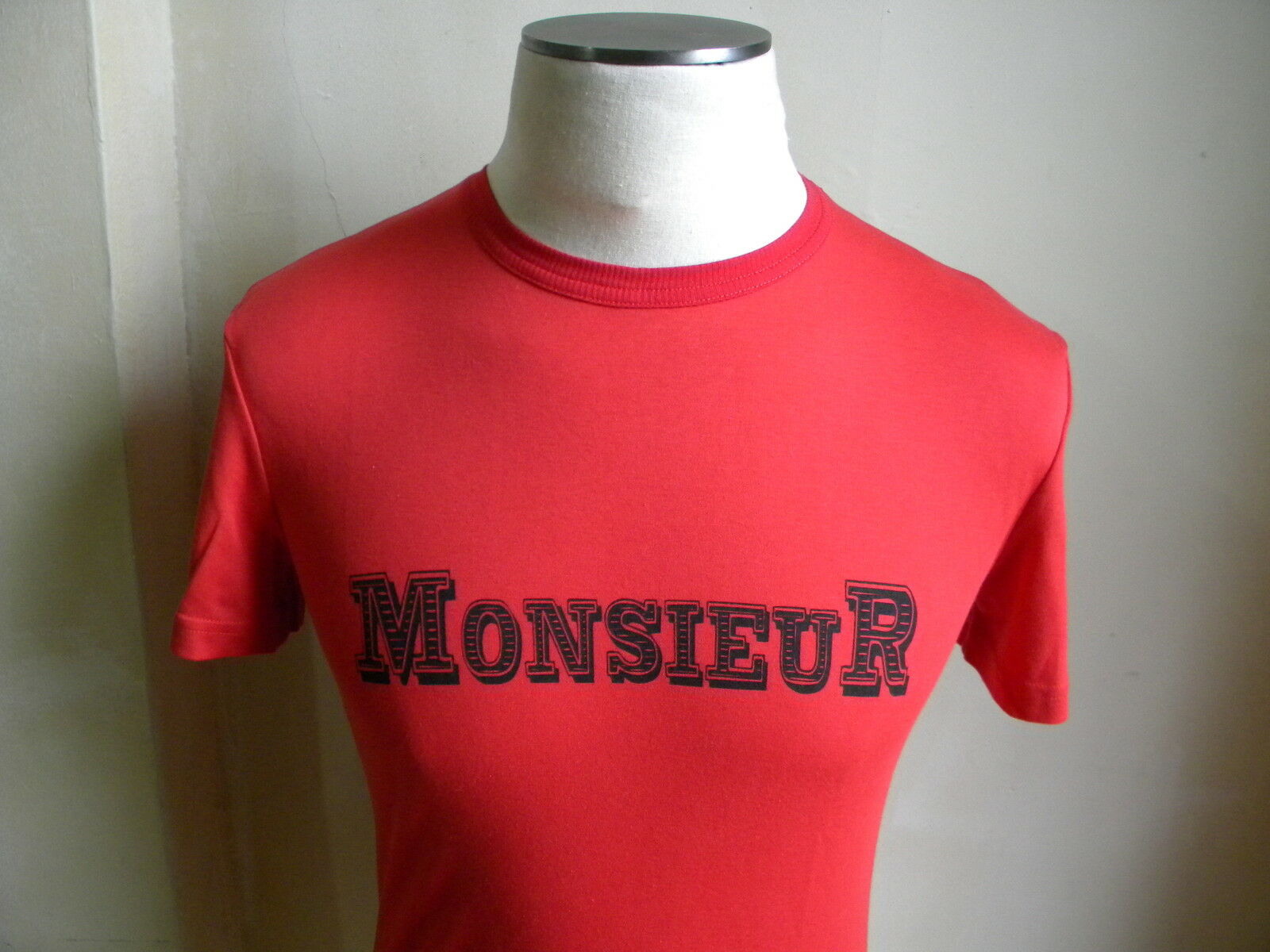 VIKTOR & ROLF VERY SOFT COTTON RED MONSIEUR T SHIRT S 48 AMAZING MADE IN ITALY