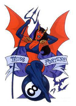 SEXY MISS FORTUNE DEVIL Gambler STICKER/Vinyl DECAL Art by Chaos! Comics