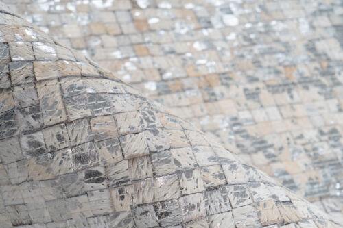 Leder Teppich Patchwork Kästchen Silber Glanz Modern Creme Elfenbein 120X170cm