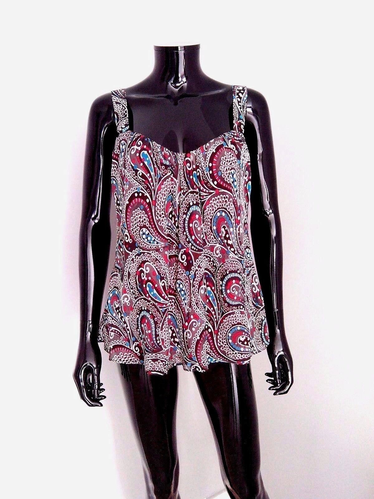 Escada designer abstract paisley ethnic print silk cami top sz. 36DE   8-10UK