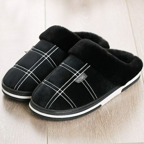 Large Size 36-50 Men Fur Slippers Winter Warm Cozy House Shoes Indoor Home