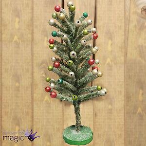 Gisela Graham Green Bristle Christmas Tree Glitter Baubles Table