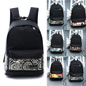 Unisex-Women-Canvas-Shoulder-School-Bag-Backpack-Travel-Satchel-Rucksack-Handbag