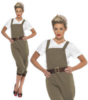 Ladies WW2 1940s Land Girl Army World War 2 Fancy Dress Costume Khaki