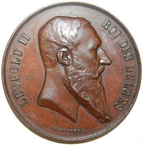 Impartial Belgique-roi Léopold Ii-exposition Nationale Médaille - 1880-afficher Le Titre D'origine Haute Qualité Et Bas Frais GéNéRaux
