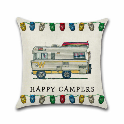 Happy Campers Camping Caravan e Cushion Cover Beige Gift Camper Cushion cover