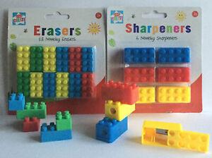 6-x-Sharpeners-18-x-brique-LEGO-type-gomme-ecole-Sac-Fete-Remplisseur