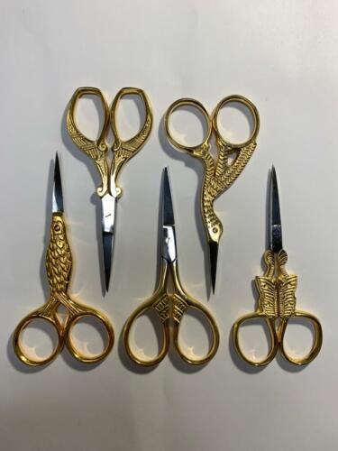 Gold Stork Cross Stitch Straight Stitch Embroidery Scissors Set of 5 Pcs