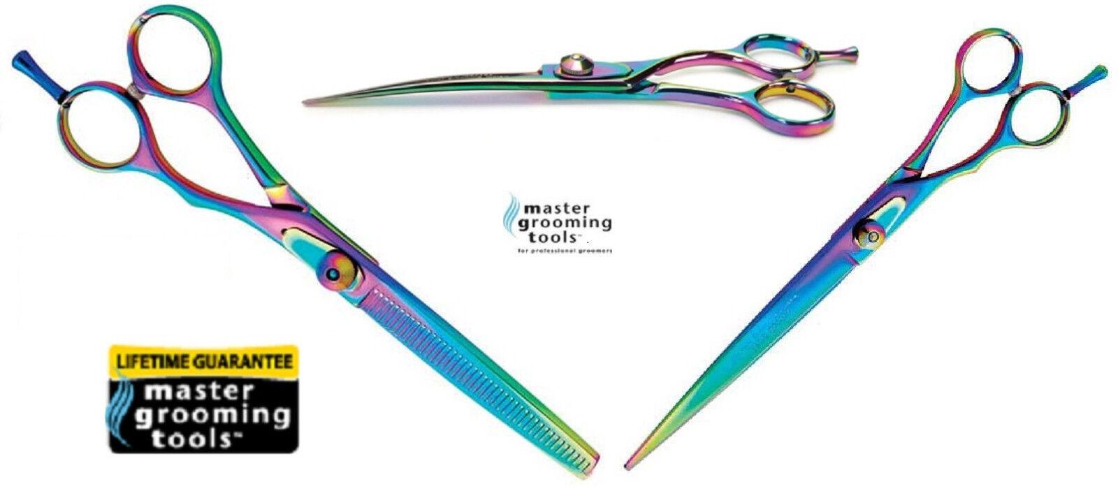 Master Grooming RAINBOW PRO 3pc 3pc 3pc SET CURVED,STRAIGHT&BLENDING Pet SHEAR SCISSOR c 4153dc