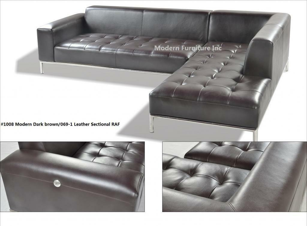 2 Pc Modern Contemporary Dark Brown Leather Sectional Sofa W Chrome Base 1008 For Sale Online