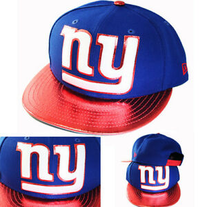 New Era NFL New York Giant Blue Snapback Hat Red Shiny Polished Logo ... 1e2b05d8616
