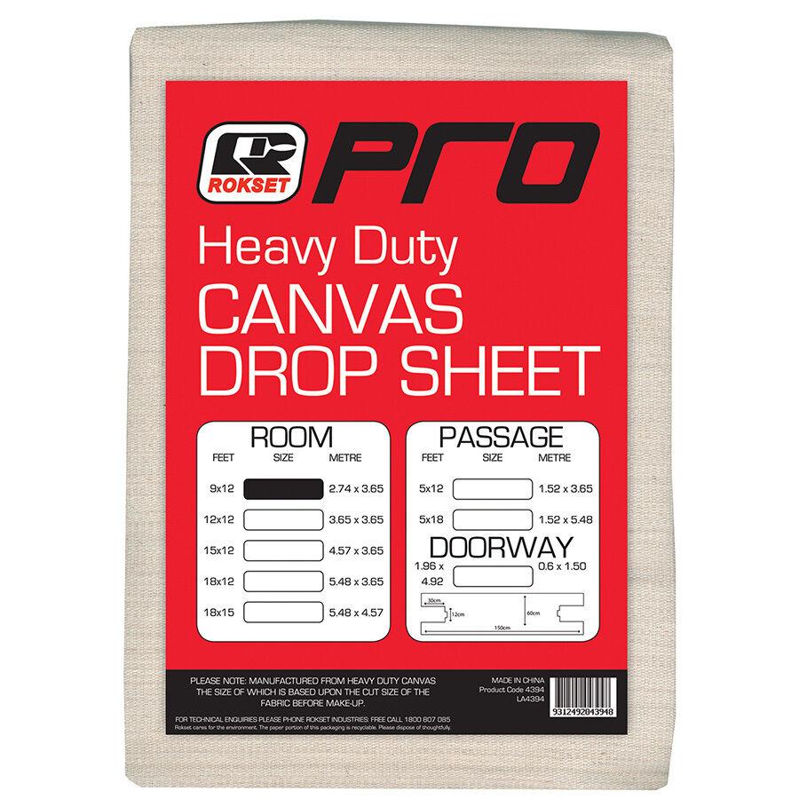 Rokset PRO CANVAS CLOTH PAINT DROP SHEET 2.6x3.6m Heavy Duty Australian Brand