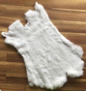 1x-WHITE-Rabbit-Skin-Real-Fur-Pelt-for-animal-training-crafts-fly-tying-LARP