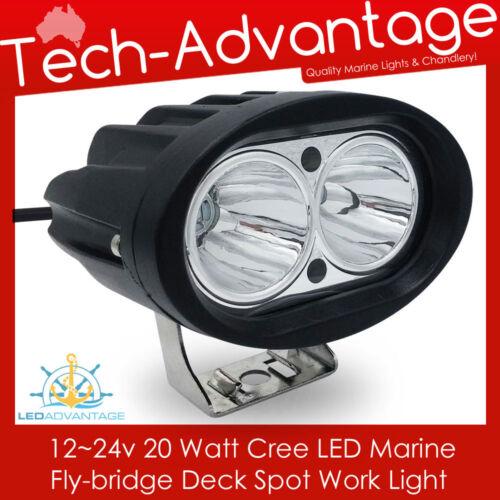 12V~24V 20W COMPACT BLACK FLOOD BOAT//FLYBRIDGE//FISHING LED SPOT WORK LIGHT