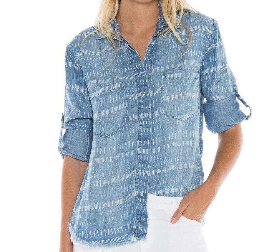Neu Cloth & Stone Szs Tiki Geteilte Zurück Schlitz Geknöpftes Hemd Streifen
