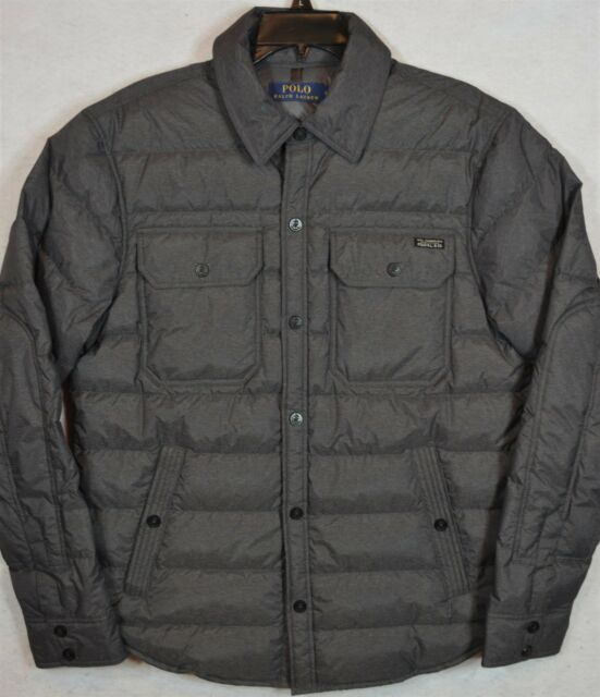 0c5e509d Polo Ralph Lauren Quilted Down Shirt Jacket Windsor Heather Grey Mens Small