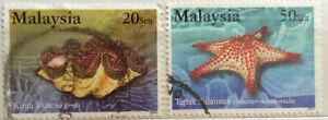 Malaysia Used Stamp -  2 pcs 2001 Marine Life Series V