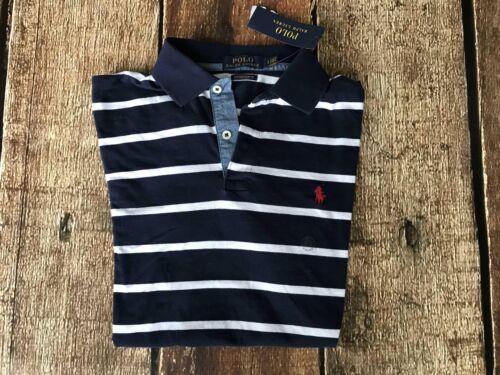 Ralph Lauren Striped Custom Slim Rugby Polo Shirt Blue Mens Small New