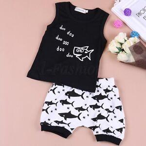 5f1f6c39060f Kids Baby Boy Girl Summer Shark Clothes Casual Tops T-shirt+Pants ...