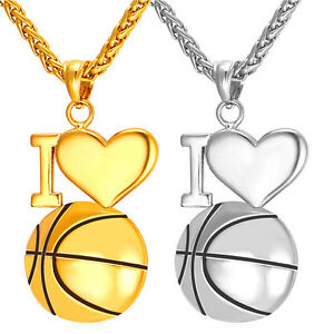 I love basketball pendant stainless steel necklace 18k gold plated image is loading i love basketball pendant stainless steel necklace 18k mozeypictures Images