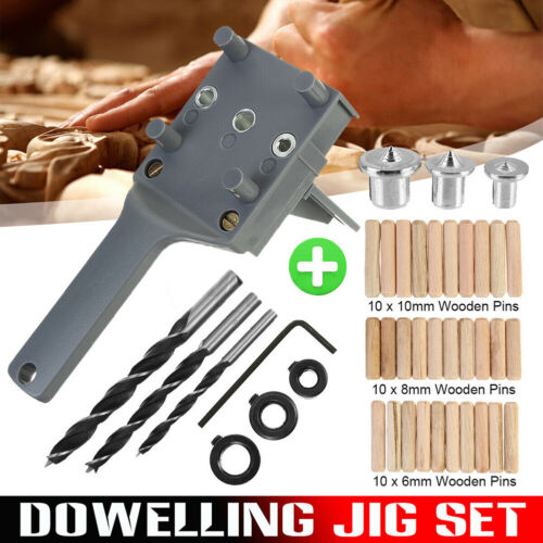 44pcs Woodworking Doweling Jig Drill Guide Wood Dowel Drill Hole Tool Woodwork