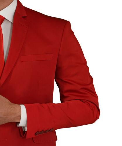 Slim Fit Herrenanzug in Rot Smoking-Anzug-Hochzeit-Bühne-Sakko-Festlich-Party
