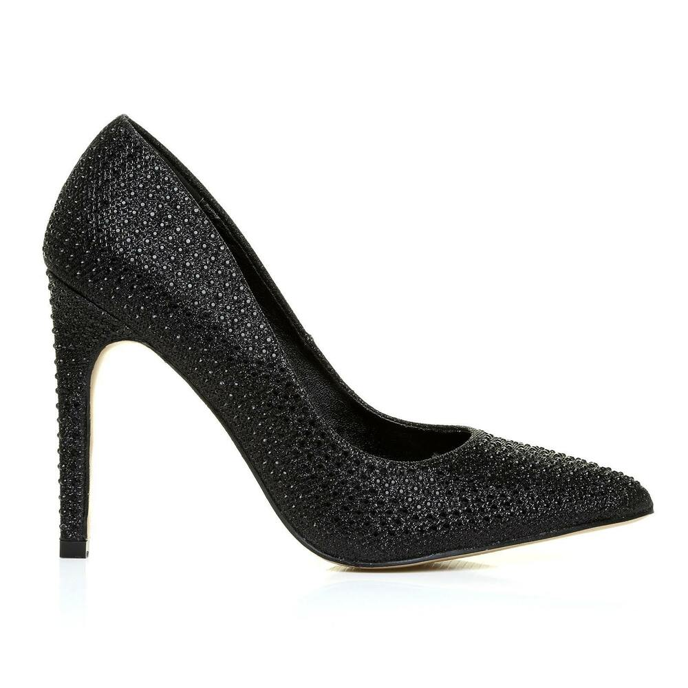 Noir Pointu Strass Fashion Chaussures à Talon Haut Uk 5 Eu 38 Lg05 55 Salex