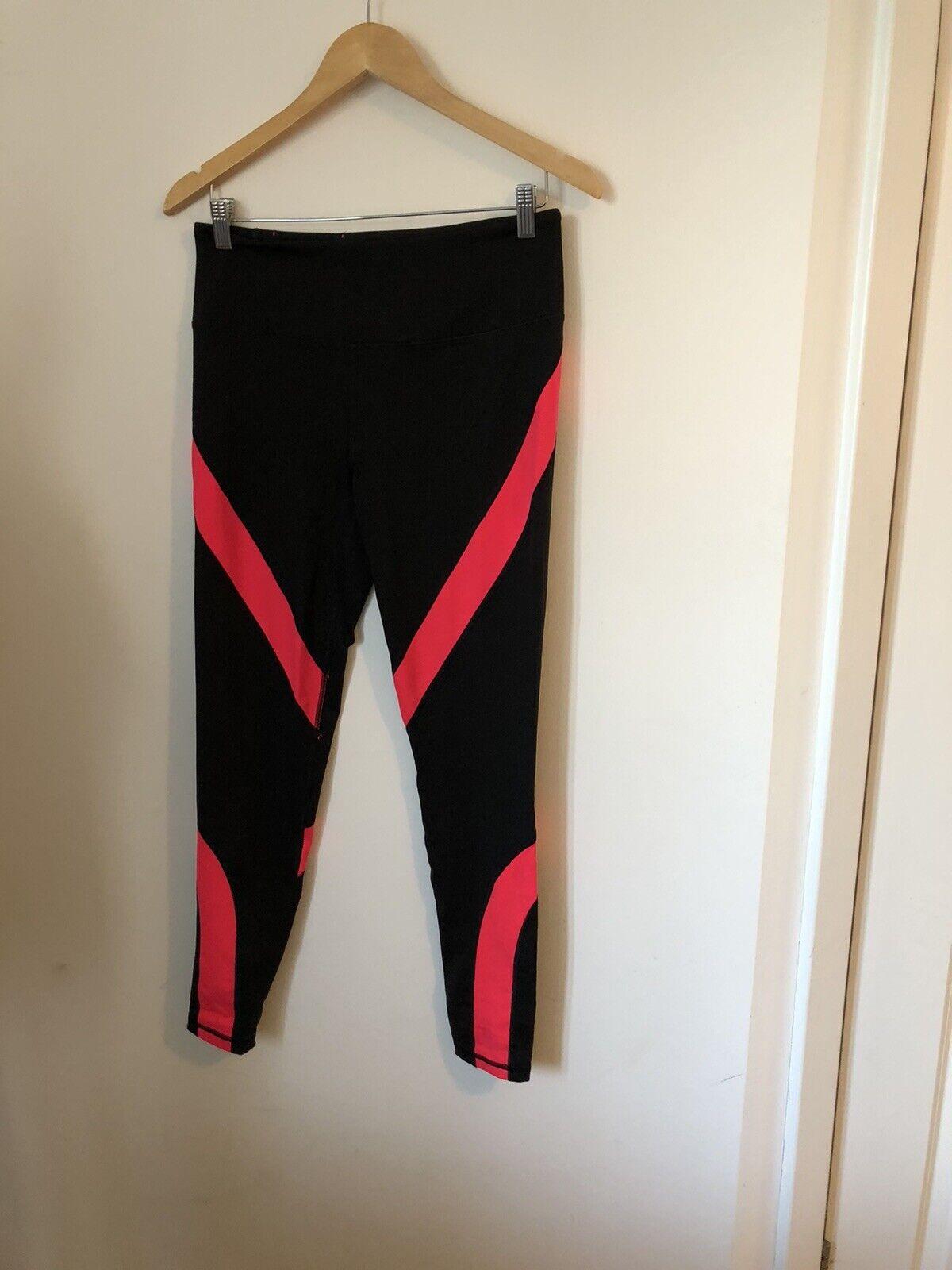 Womens Black & Pink Victorias Secret Gym Tights Size M <DF1146