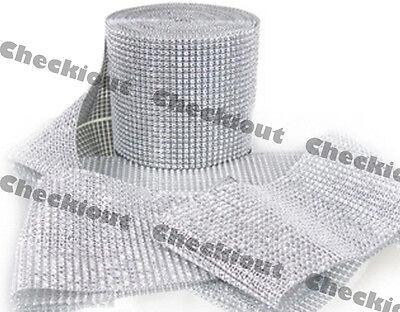 "4.5"" x 15ft  Wedding Decoration Supplies Rhinestone Diamond Wraps Ribbon Mesh"