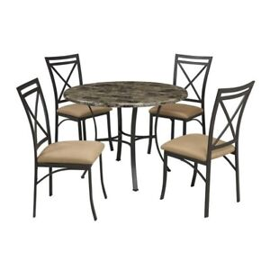Buy Mainstays 5 Piece Faux Marble Top Dining Set Walmartcom